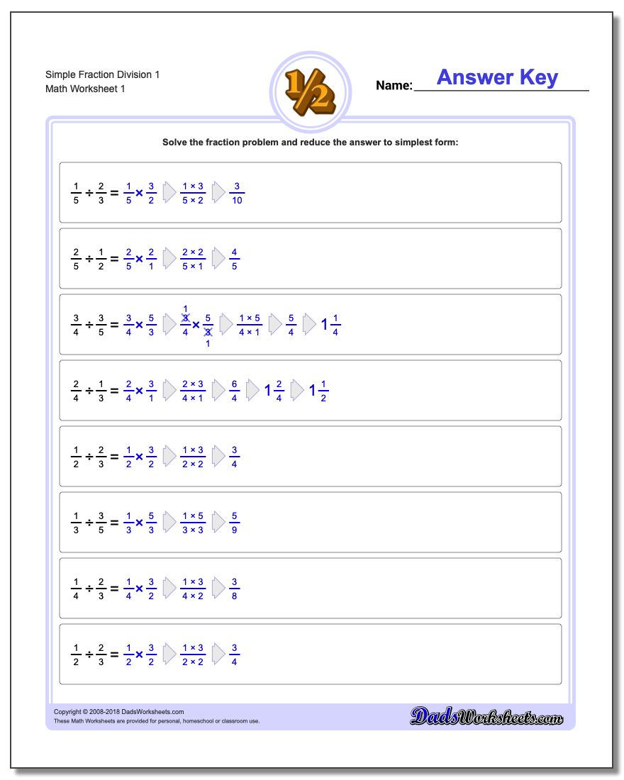 Relating Fractions To Division Worksheet