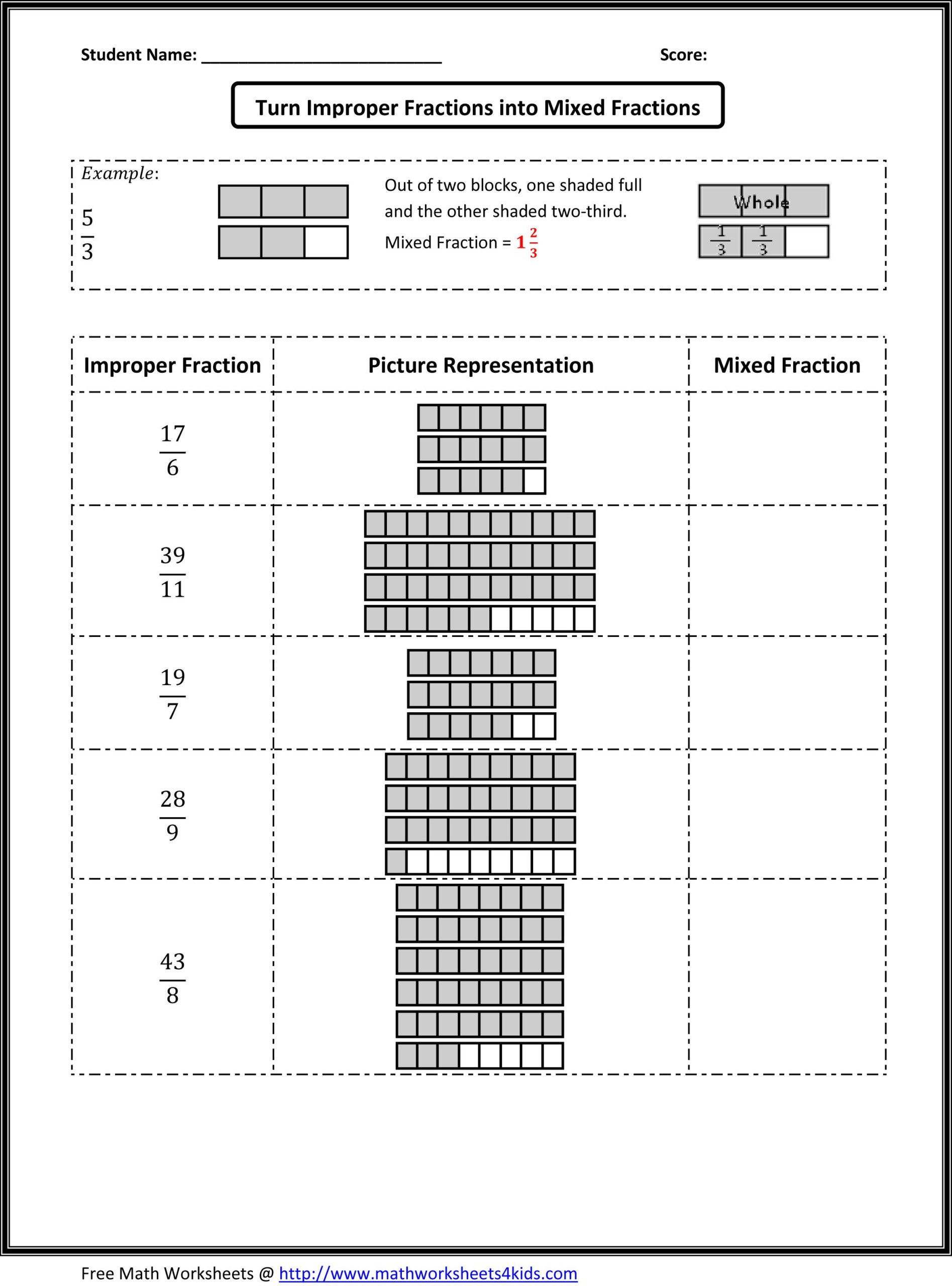 Types Of Fractions Worksheets