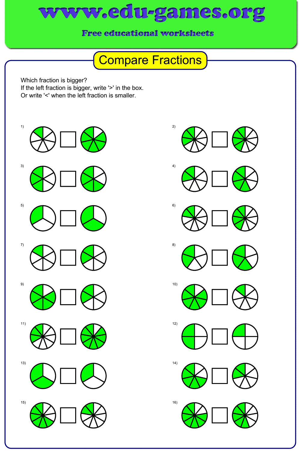 Comparing Fractions With The Same Numerator Worksheet ...