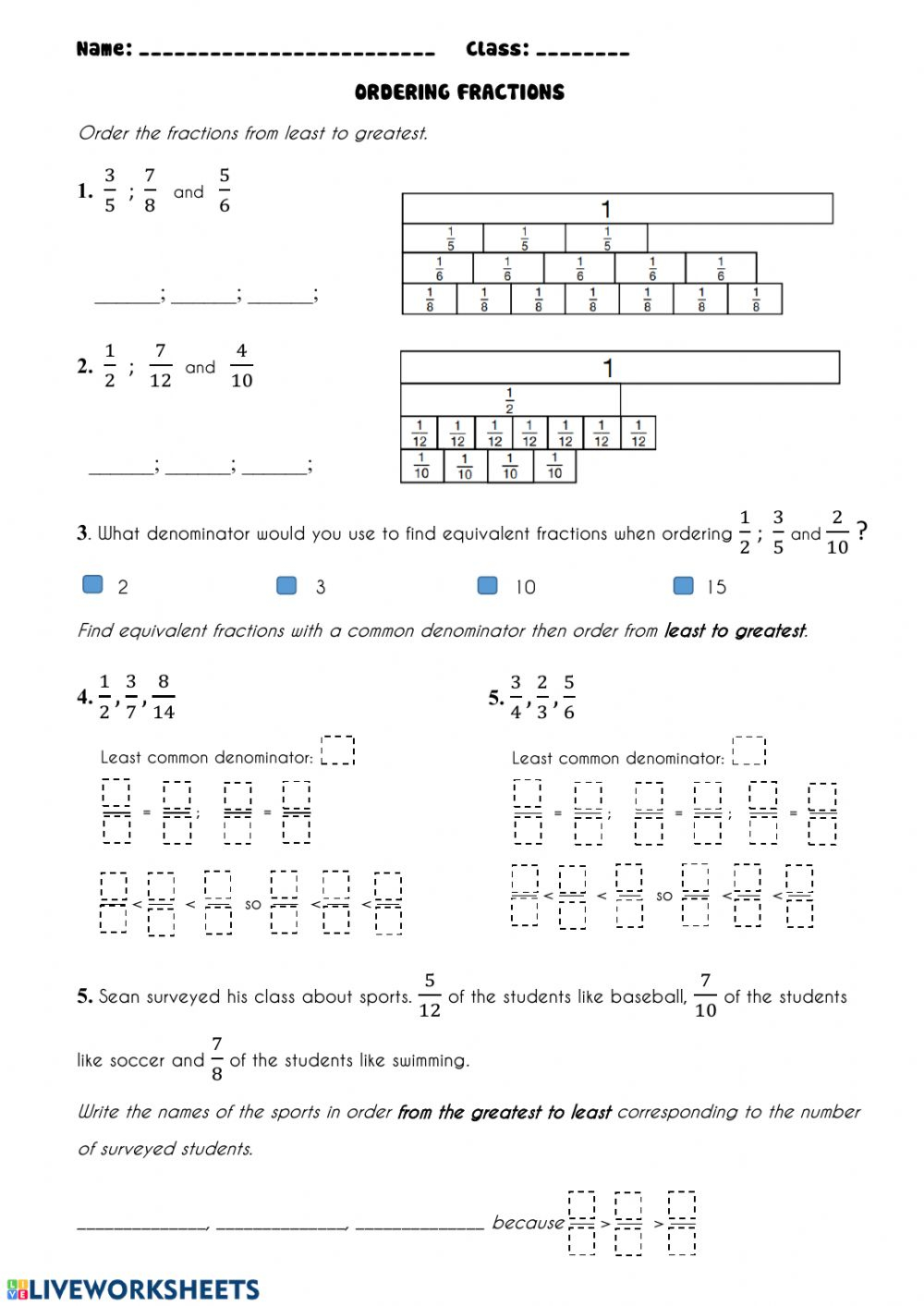 Ordering Fractions Worksheet With Answer Key   Fraction ...