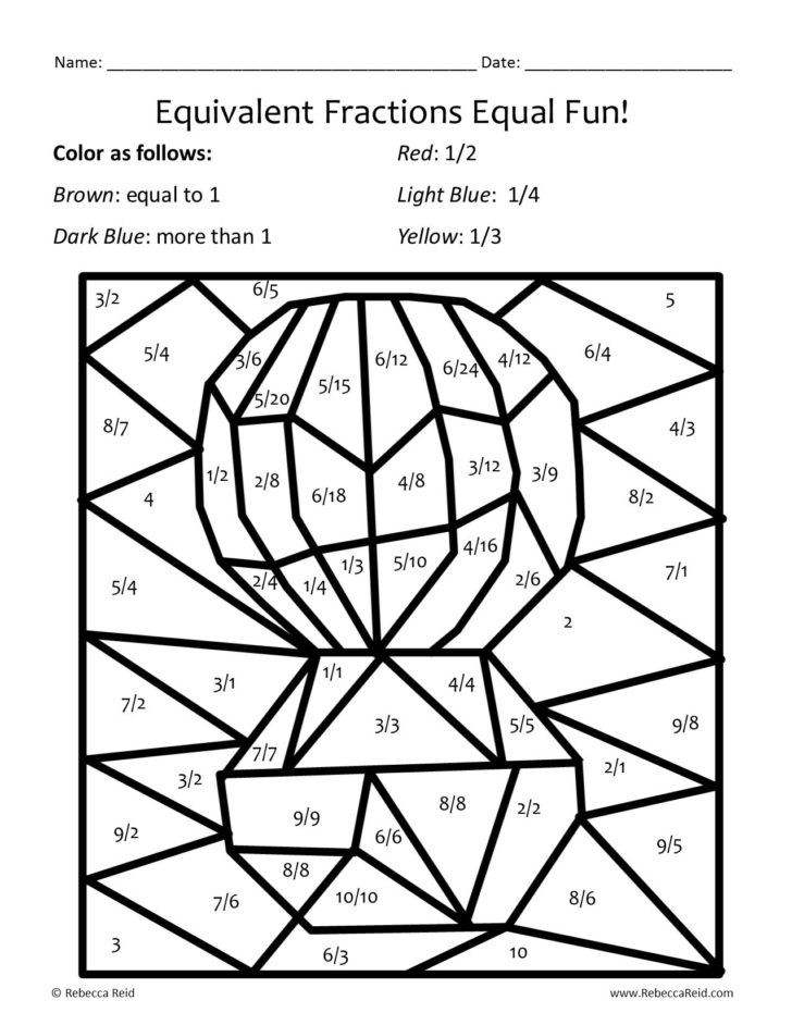 Equivalent Fraction Coloring Sheet