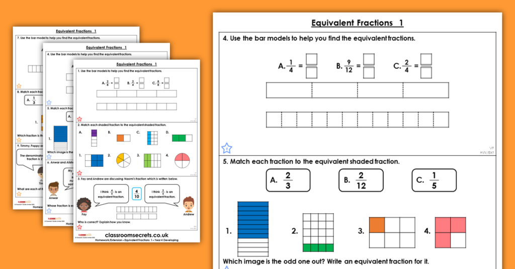 Equivalent Fractions 1 Homework Extension Year 4 Fractions