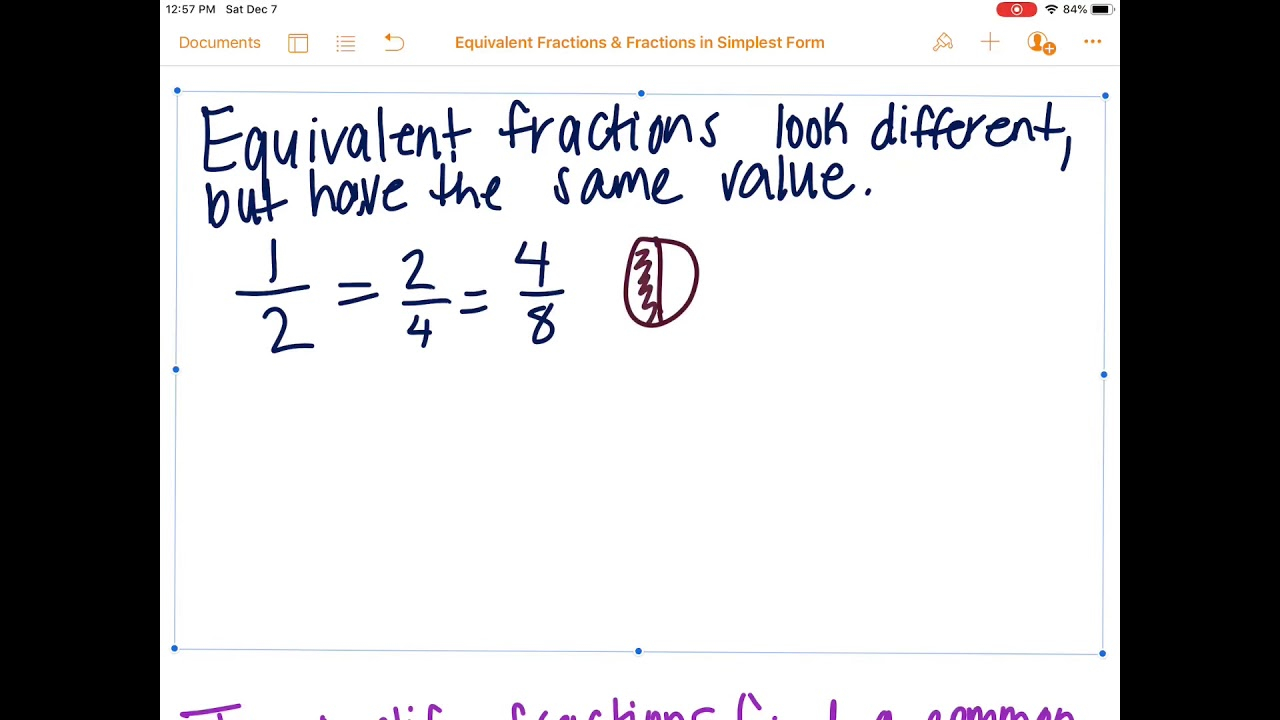 Equivalent Fractions Fractions In Simplest Form YouTube