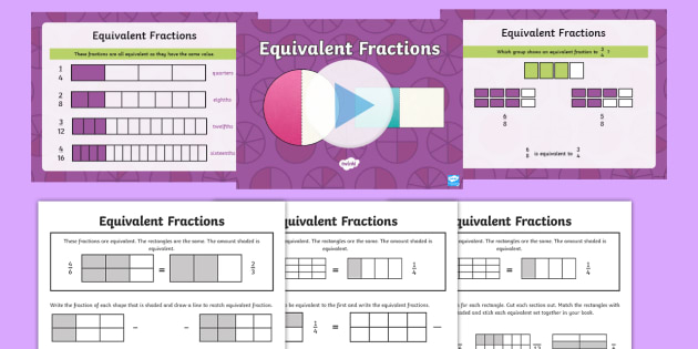 Equivalent Fractions Year 3 PowerPoint With Worksheets