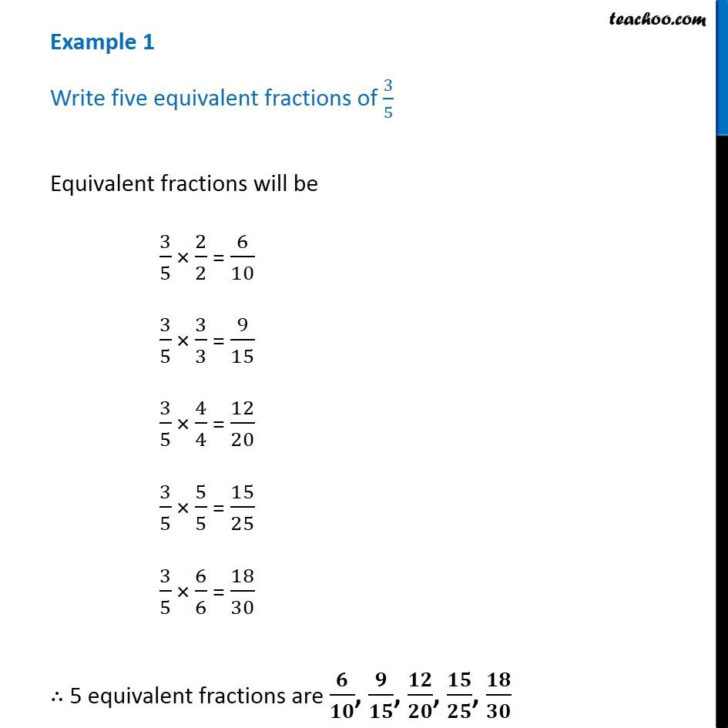 Equivalent Fraction For 3/5