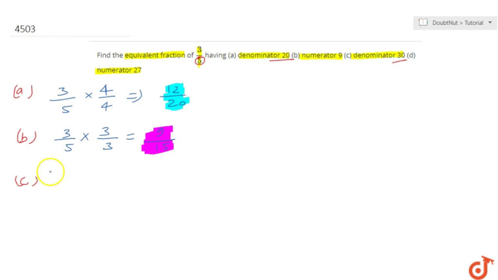 Find The Equivalent Fraction Of 3 5 Having A