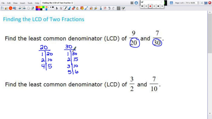 Equivalent Fraction Using Lcd