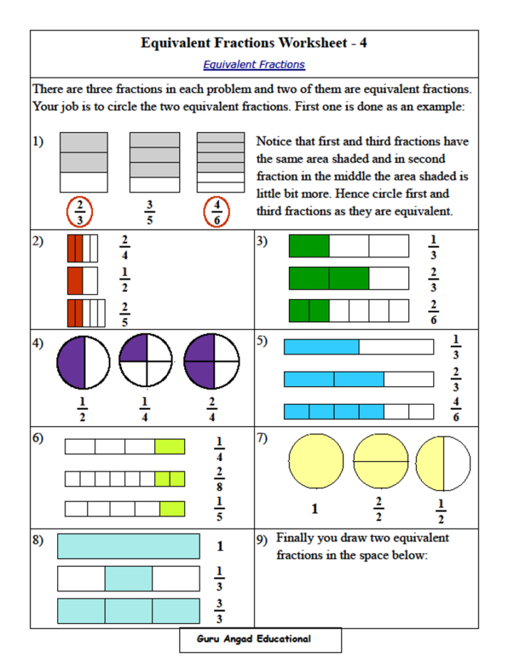 Equivalent Fraction Word Problems 4th Grade
