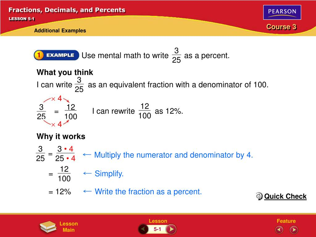 PPT Fractions Decimals And Percents PowerPoint