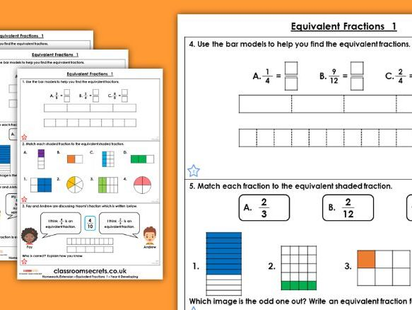 Year 4 Equivalent Fractions 1 Spring Block 3 Maths